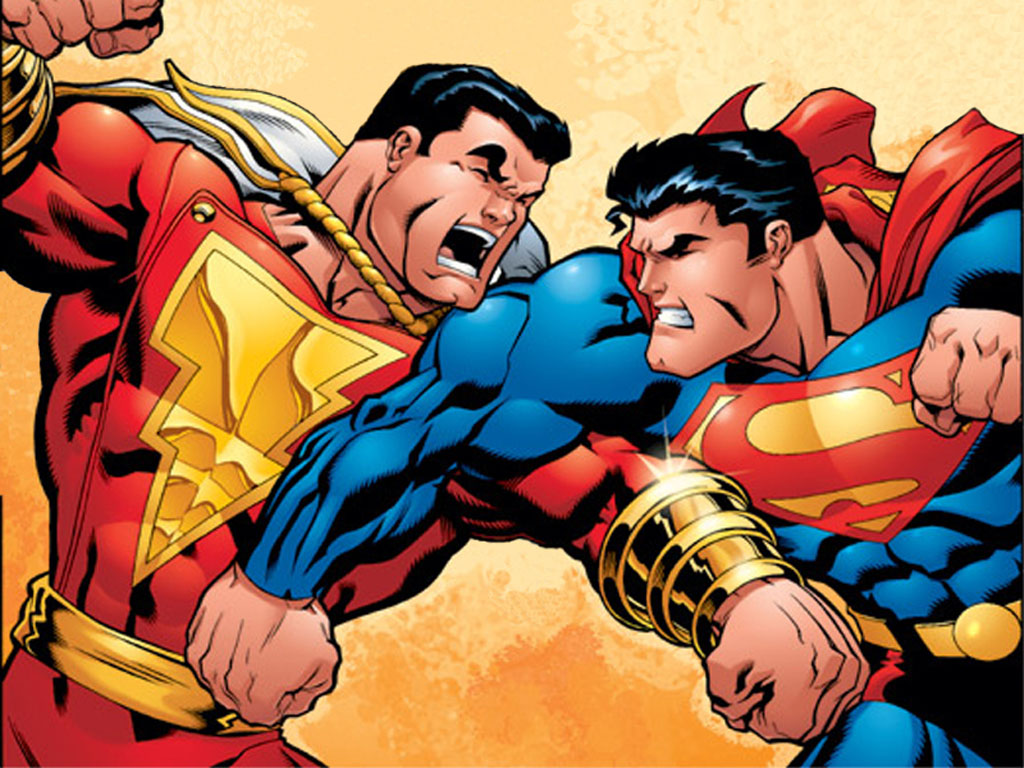 Marvel superhero wallpaper CAPTAIN MARVEL and SUPERMAN 1024x768