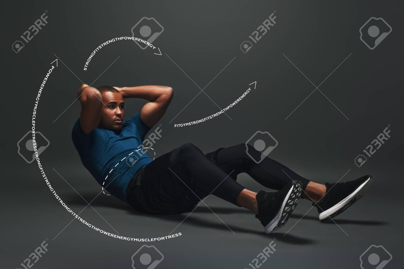 Strong Body Sportsman Lying Over Dark Background Working Abs 1300x867