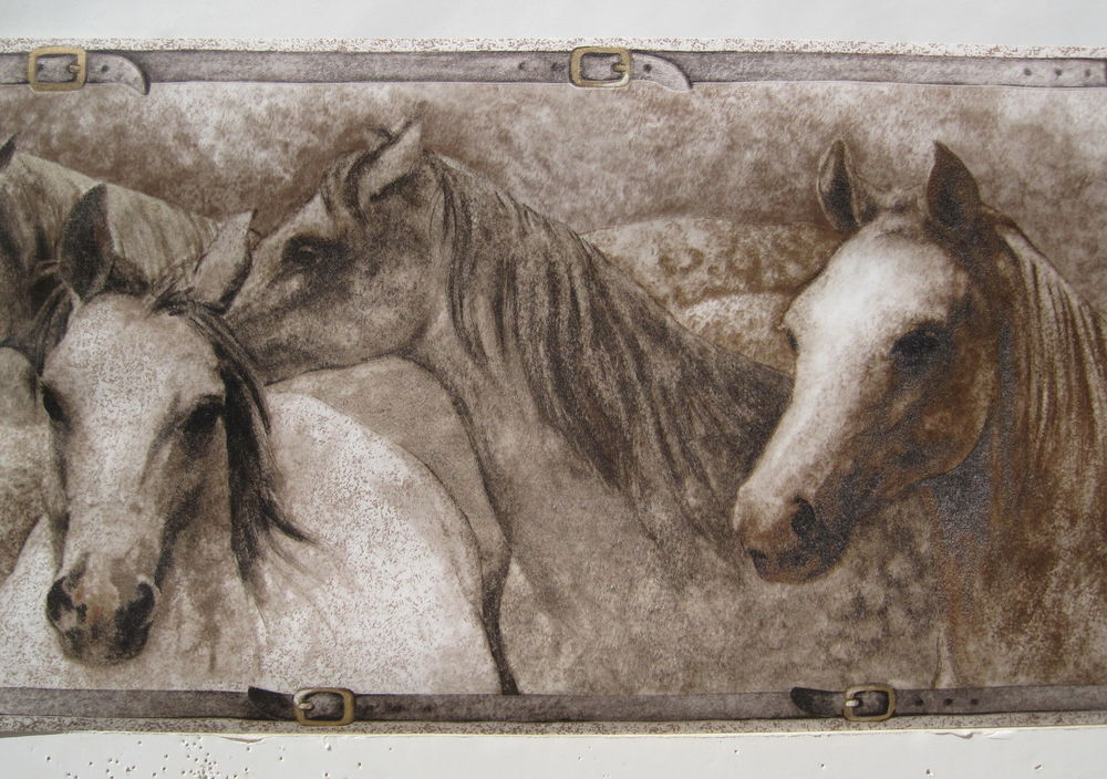 Lots of Horses Ranching Old West Wallpaper Border 10 1 4 Tan eBay 1000x704