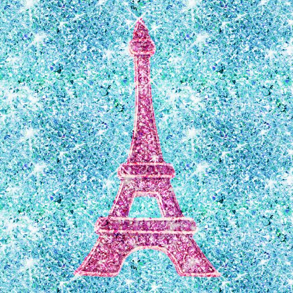 Bling Me Girly Pink Eiffel Tower teal blue glitter photo print Art 600x600