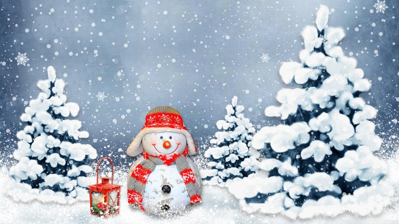 Funny Snowman 4K HD Desktop Wallpaper for 4K Ultra HD TV Wide 1366x768