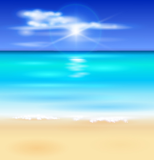 Sunny beach design vector background 09   Vector Background 500x519