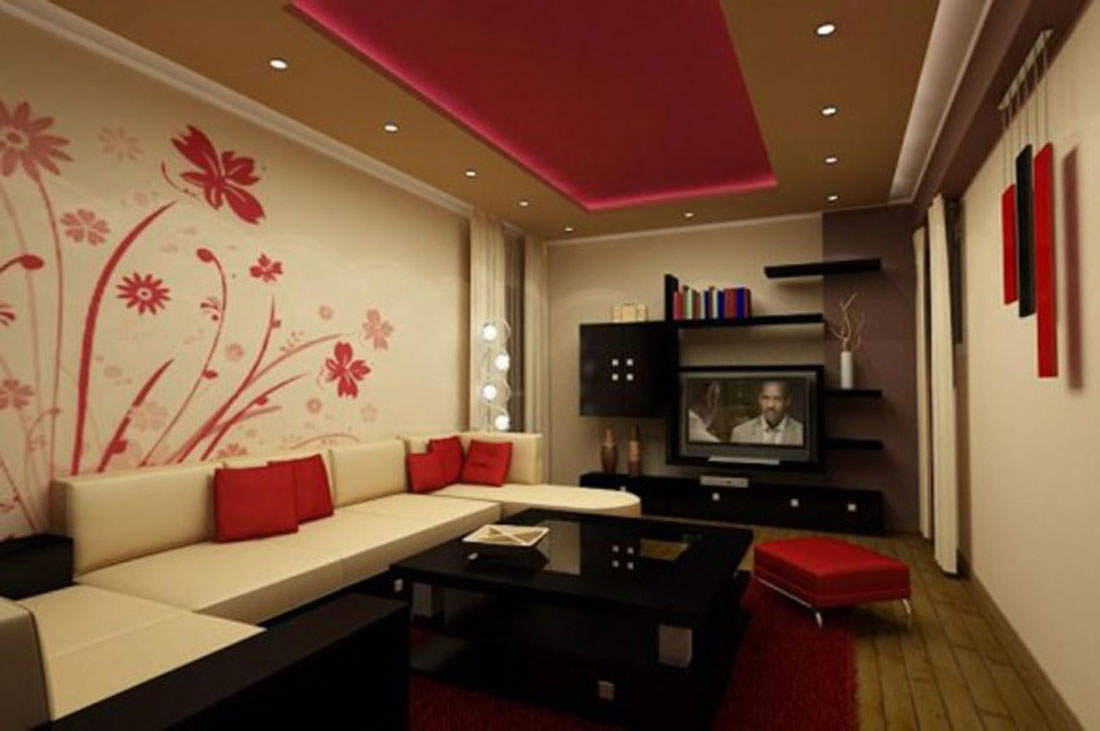 Red Flower Accent Wallpaper For White Wall Living Room Interior 2013 1100x731