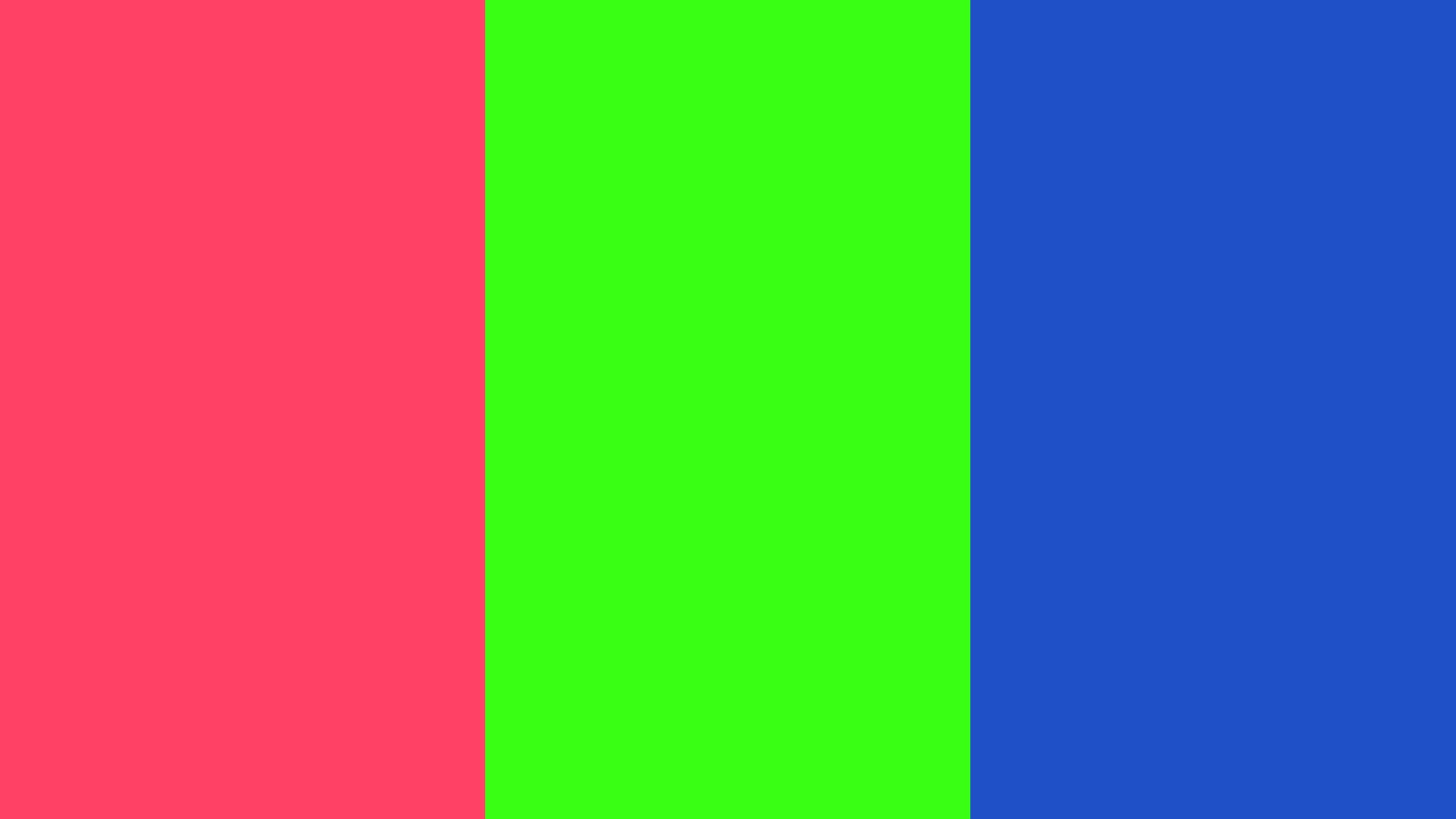 Neon Carrot Neon Fuchsia and Neon Green solid three color background 2560x1440