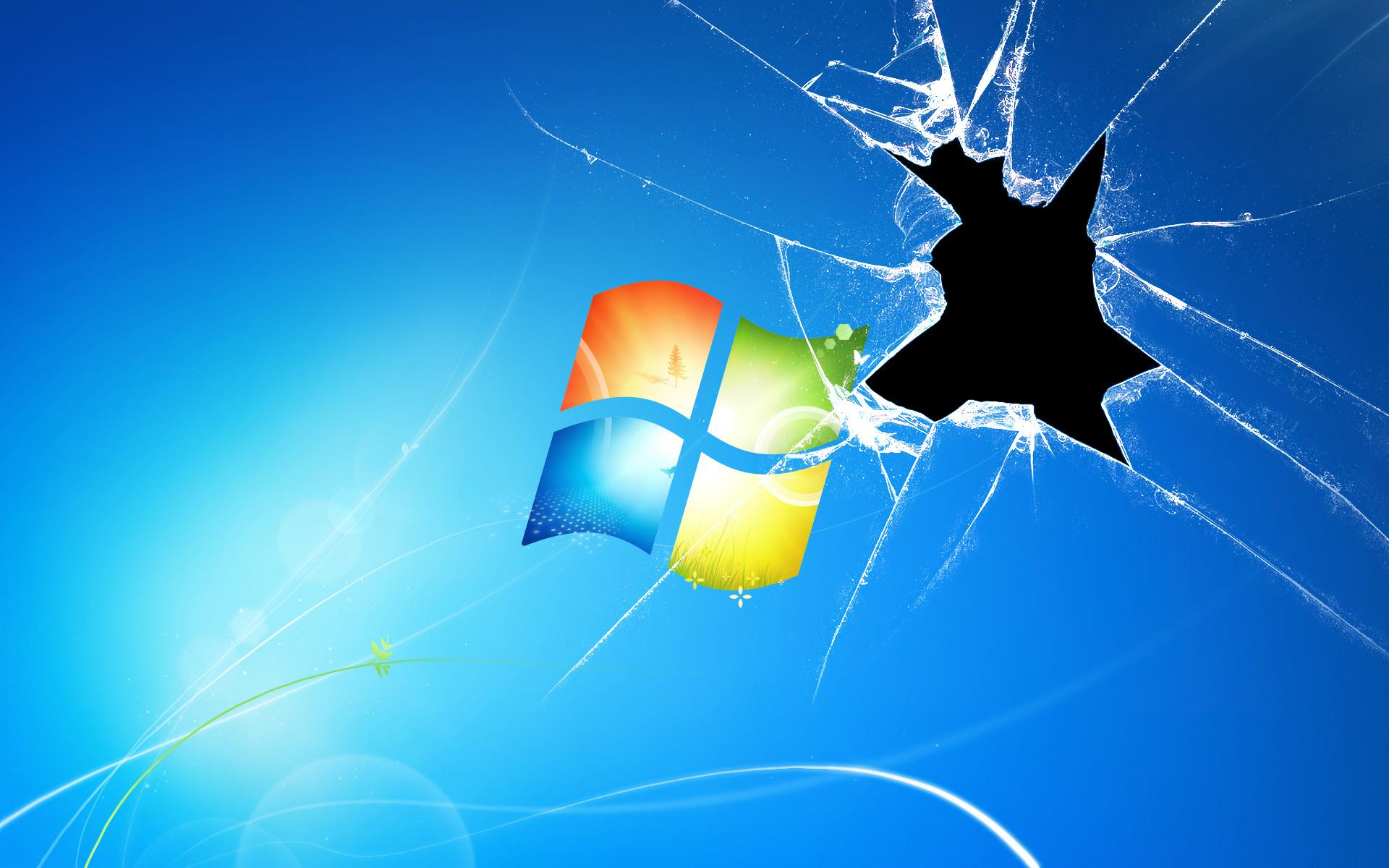 Broken screen over a Windows logo wallpaper   633114 1920x1200