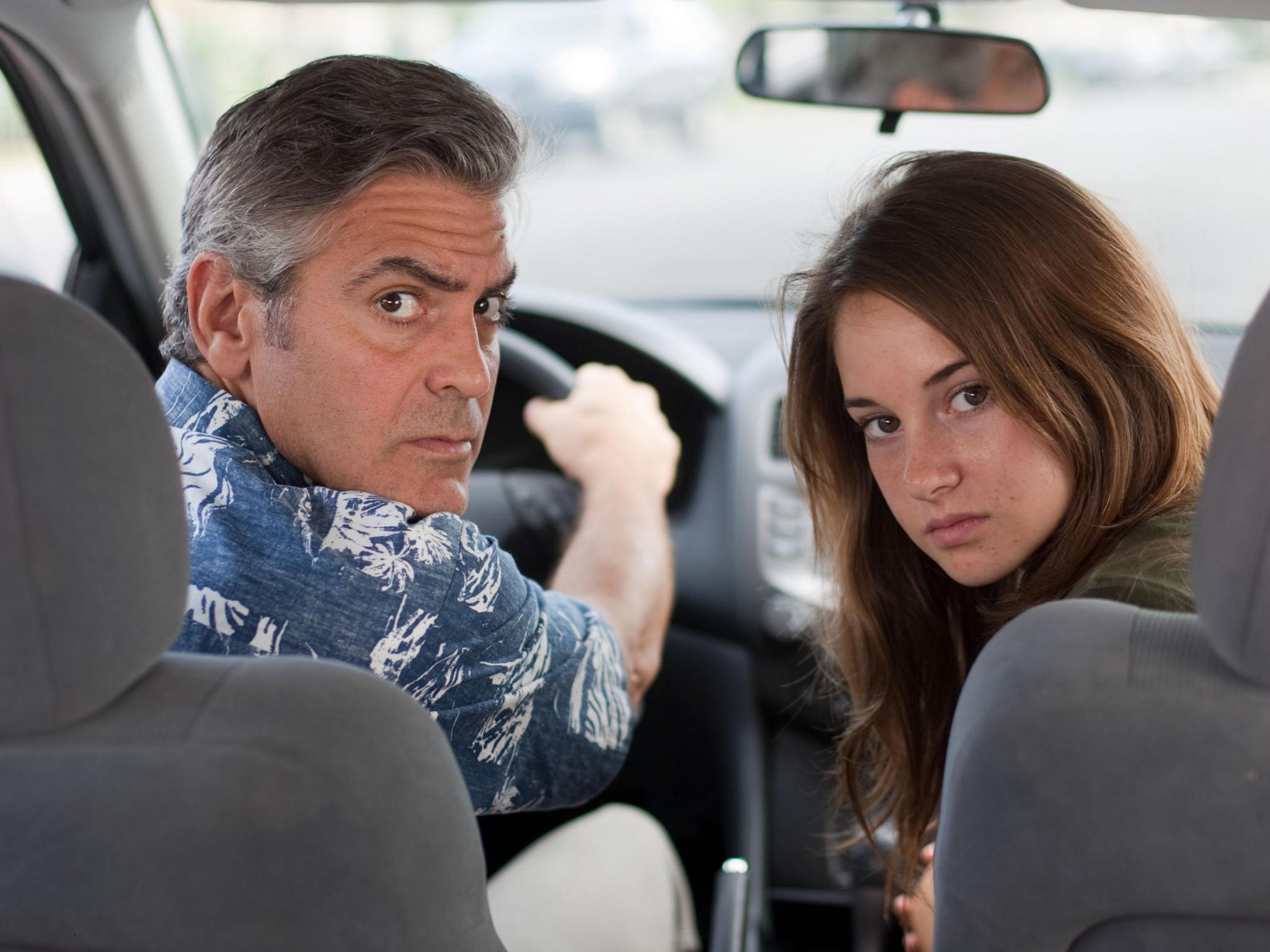 wallpaper the descendants george clooney shayleen woodley HD 2048x1536