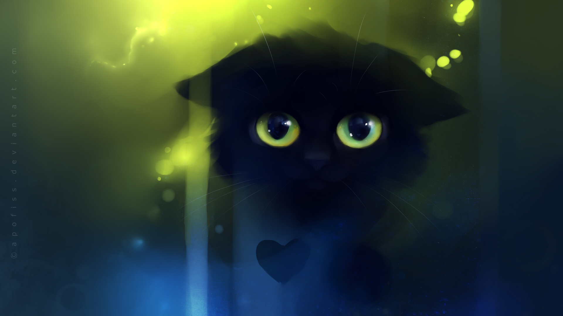 cat picture1920x1080 with apofisssolohighresblack hairgreen eyesblack 1920x1080