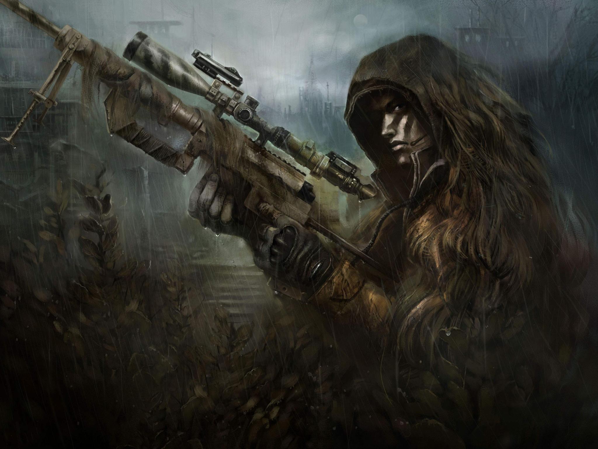 Wallpaper soldier sniper rain camouflage rifle BlackShot desktop 2048x1536