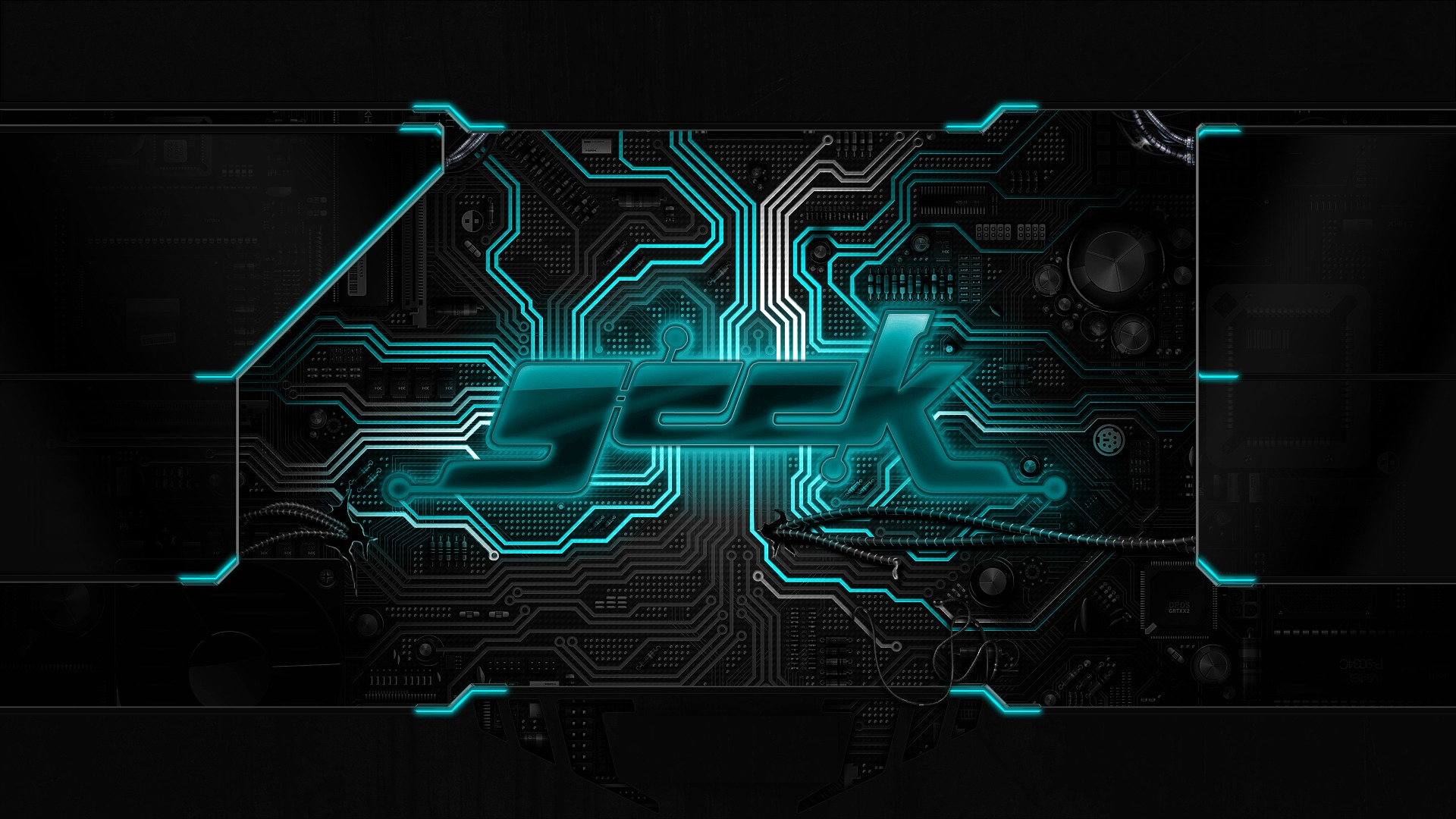 geek chip circuit board neon wallpaper background 1920x1080