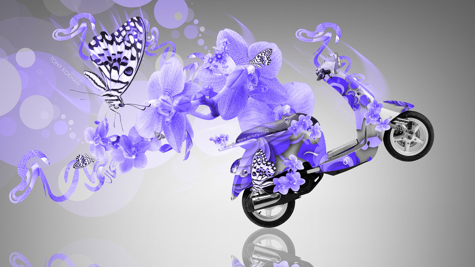 moto butterfly flowers bike 2014 blue neon hd wallpapers Car Tuning 1920x1080