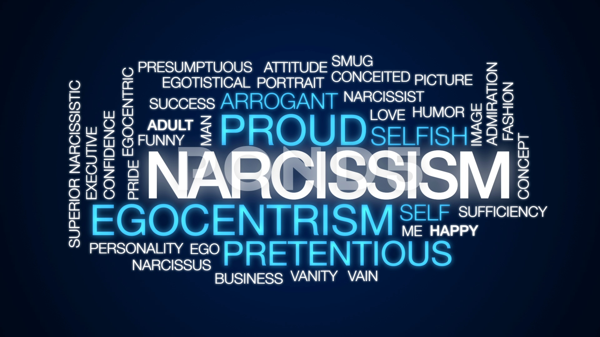 Narcissism animated word cloud text design animation Clip 1920x1080