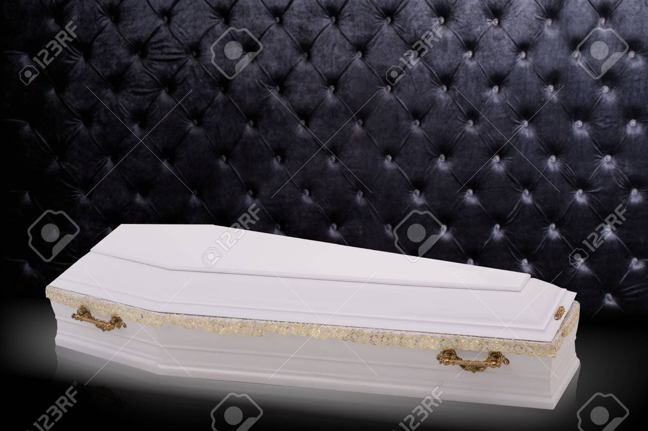Closed Wooden White Coffin Isolated On Gray Luxury Background 1300x866