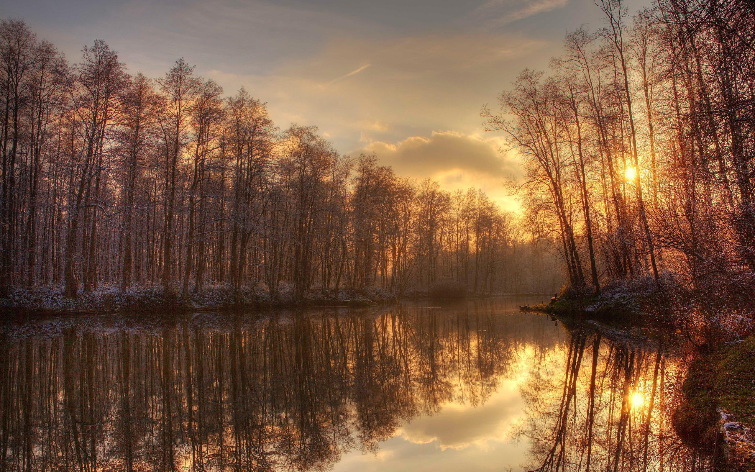 warm Winter Sonnenuntergang Teich Bume wallpaper   HD 2560x1600