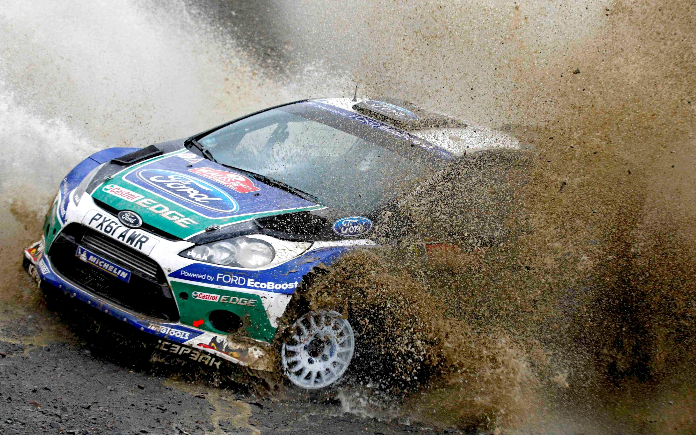 Wallpaper Ford Fiesta Ford Rally WRC Race Dirt Drift Turn 2880x1800