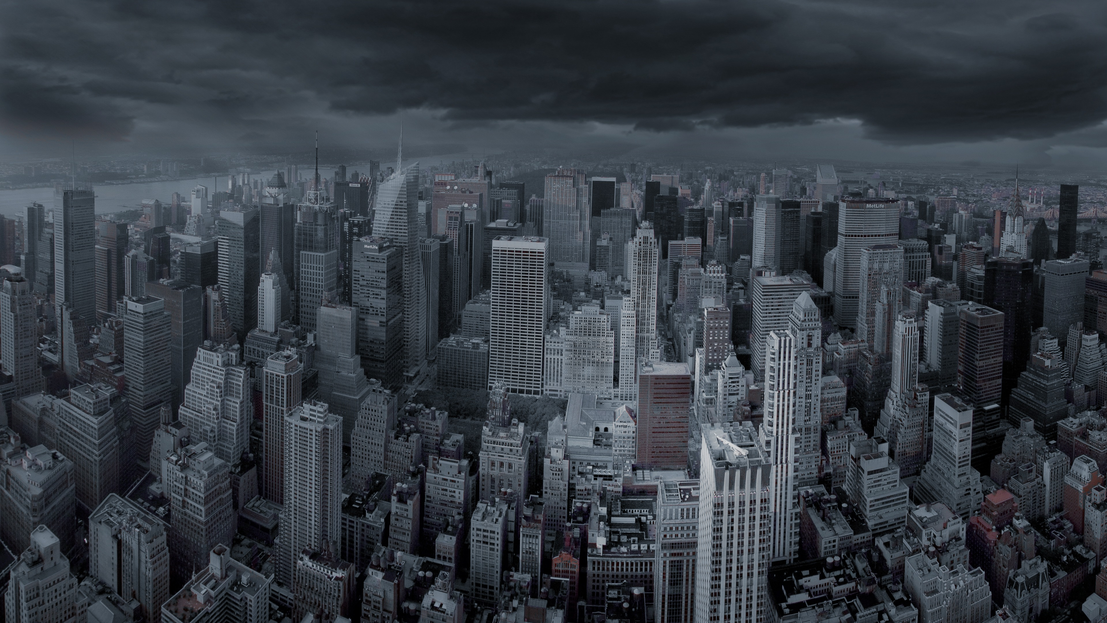 New York City Dark Skies Panorama 4K Ultra HD Desktop Wallpaper 3840x2160
