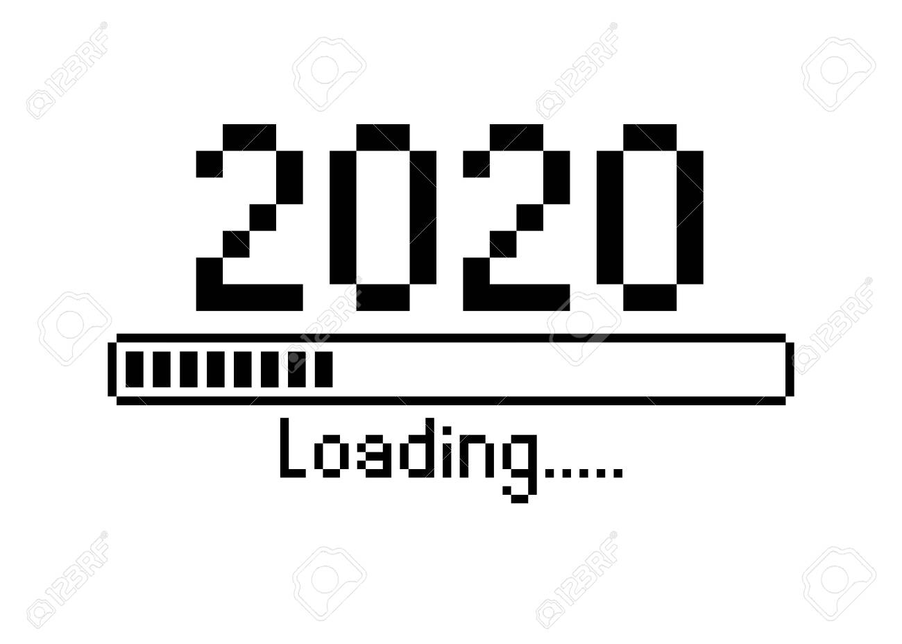 Happy New Year 2020 With Loading Icon Pixel Art Bitmap Style 1300x928