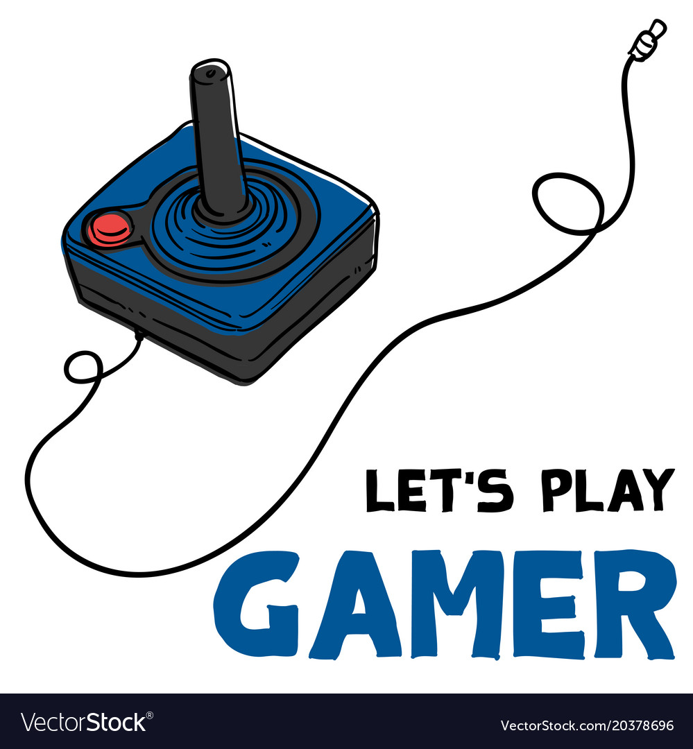 Lets play gamer joystick background image Vector Image 999x1080