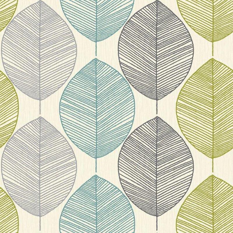 Arthouse Opera Retro Leaf TealGreen Wallpaper  408207 Sample   Cut 800x800