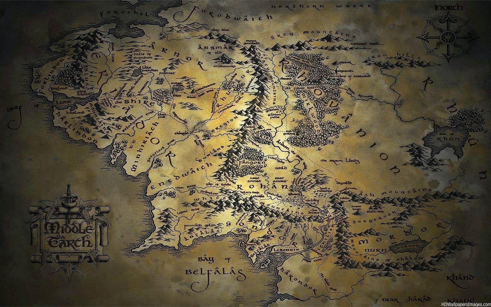Map Of Middle Earth Wallpapers 1680x1050