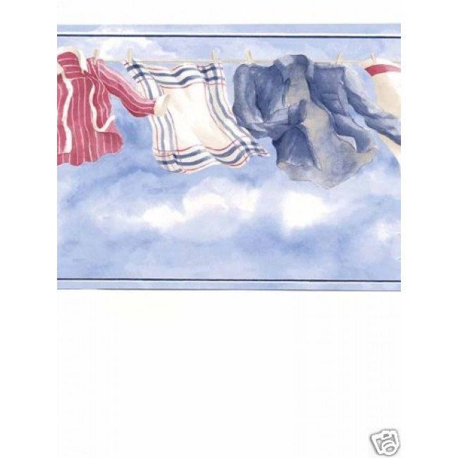 Patriotic Red White and Blue Laundry Wallpaper Border   All 4 Walls 650x650