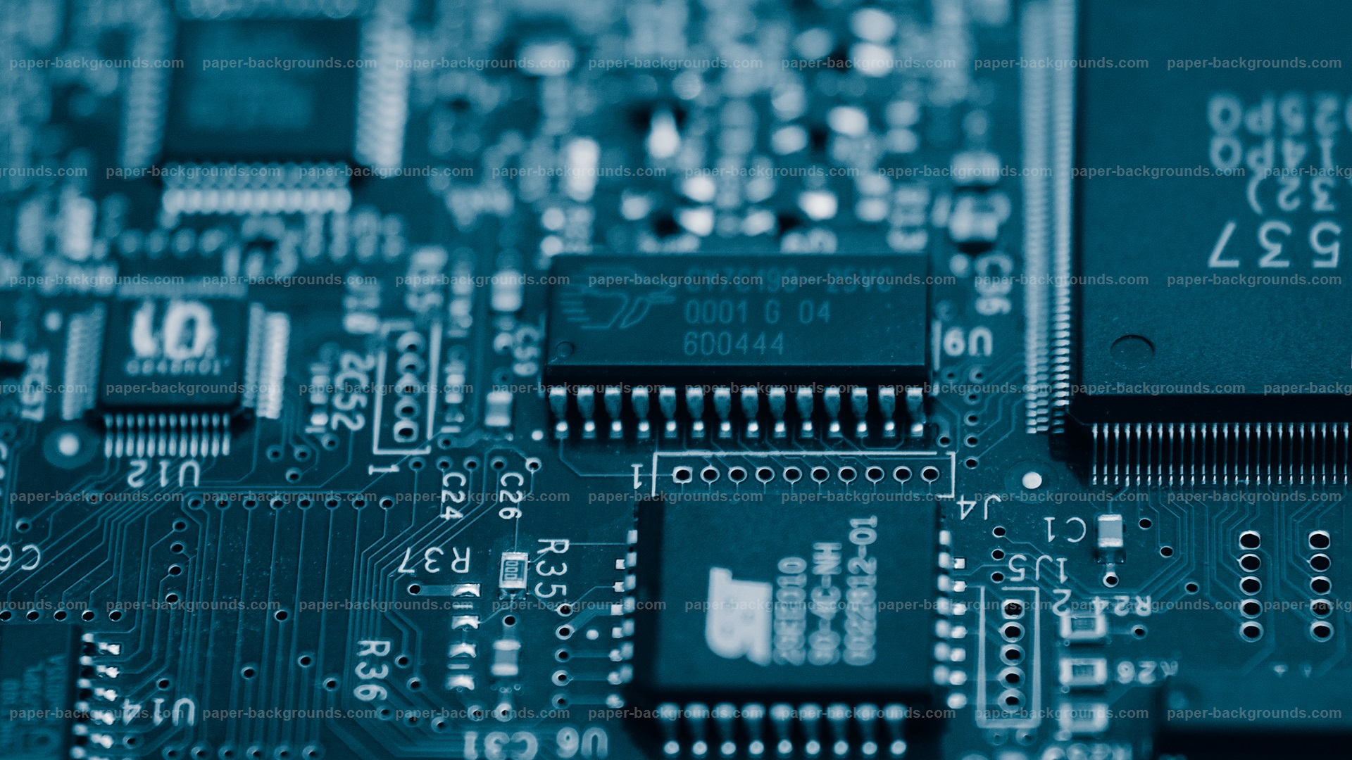 download Paper Backgrounds Blue Electronic Circuits 1920x1080