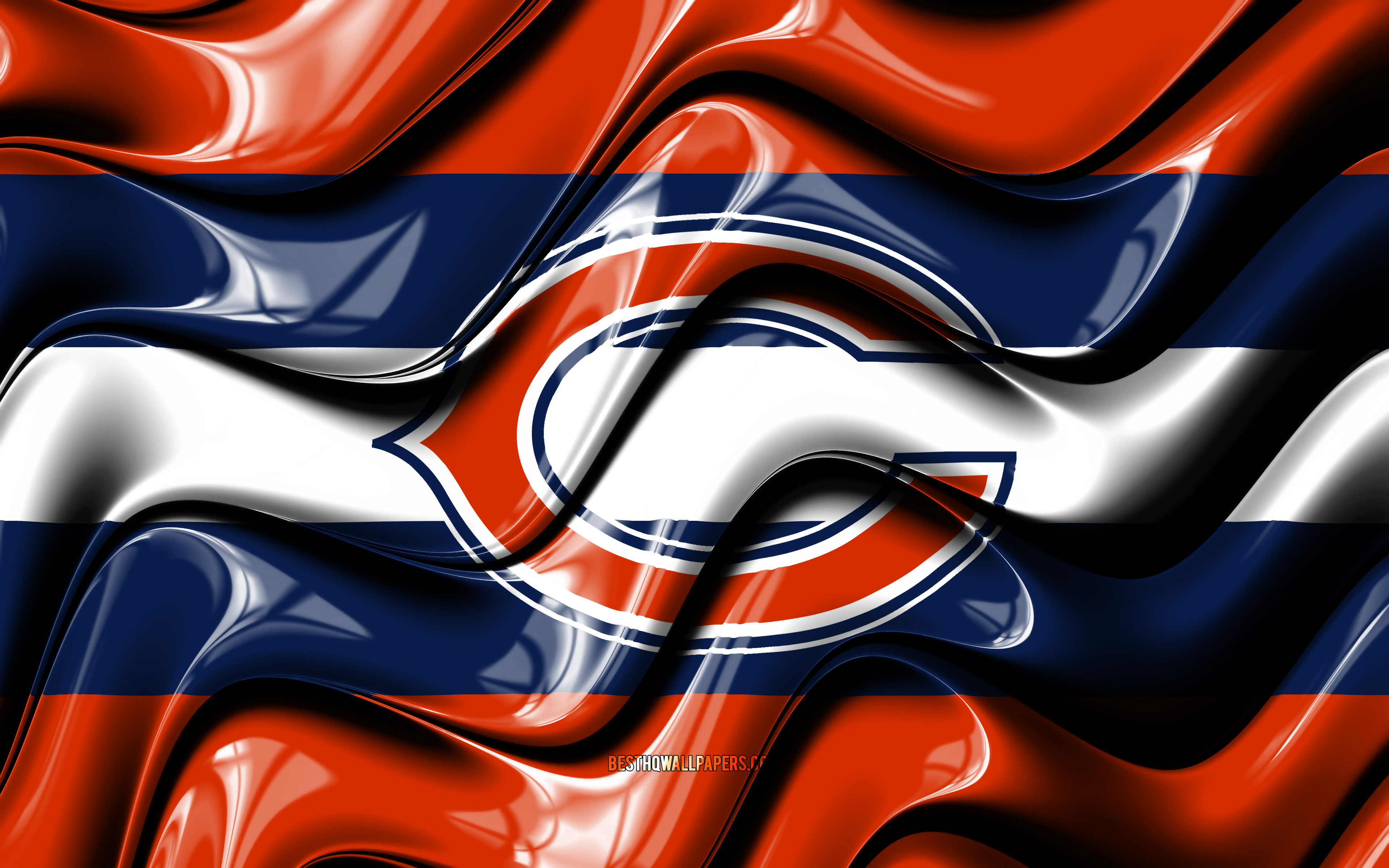 Download wallpapers Chicago Bears flag 4k orange and blue 3D 3840x2400