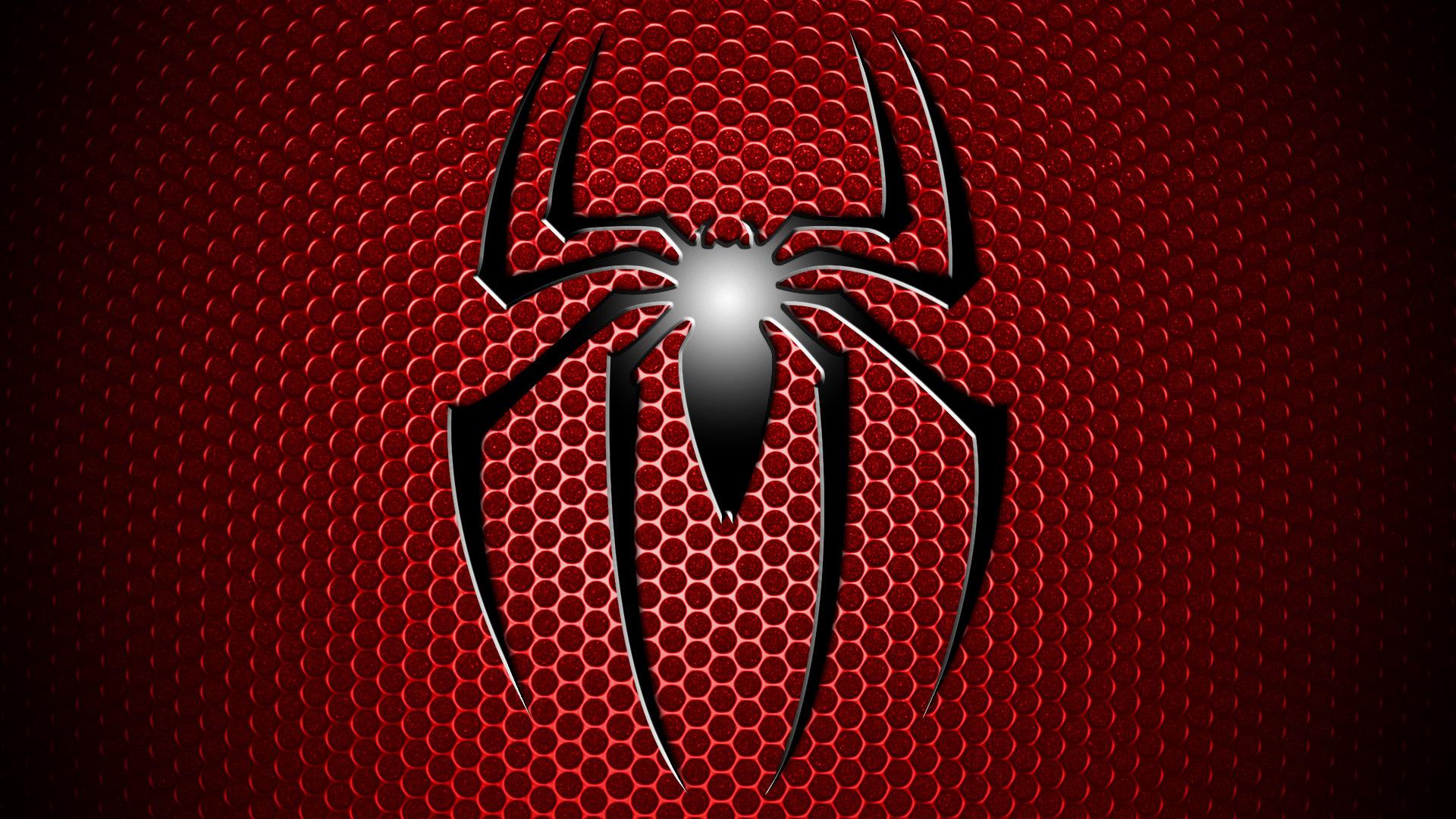 Spider Man Spider Man Logo Symbol Red Grid Black Simple Wallpaper 1920x1080