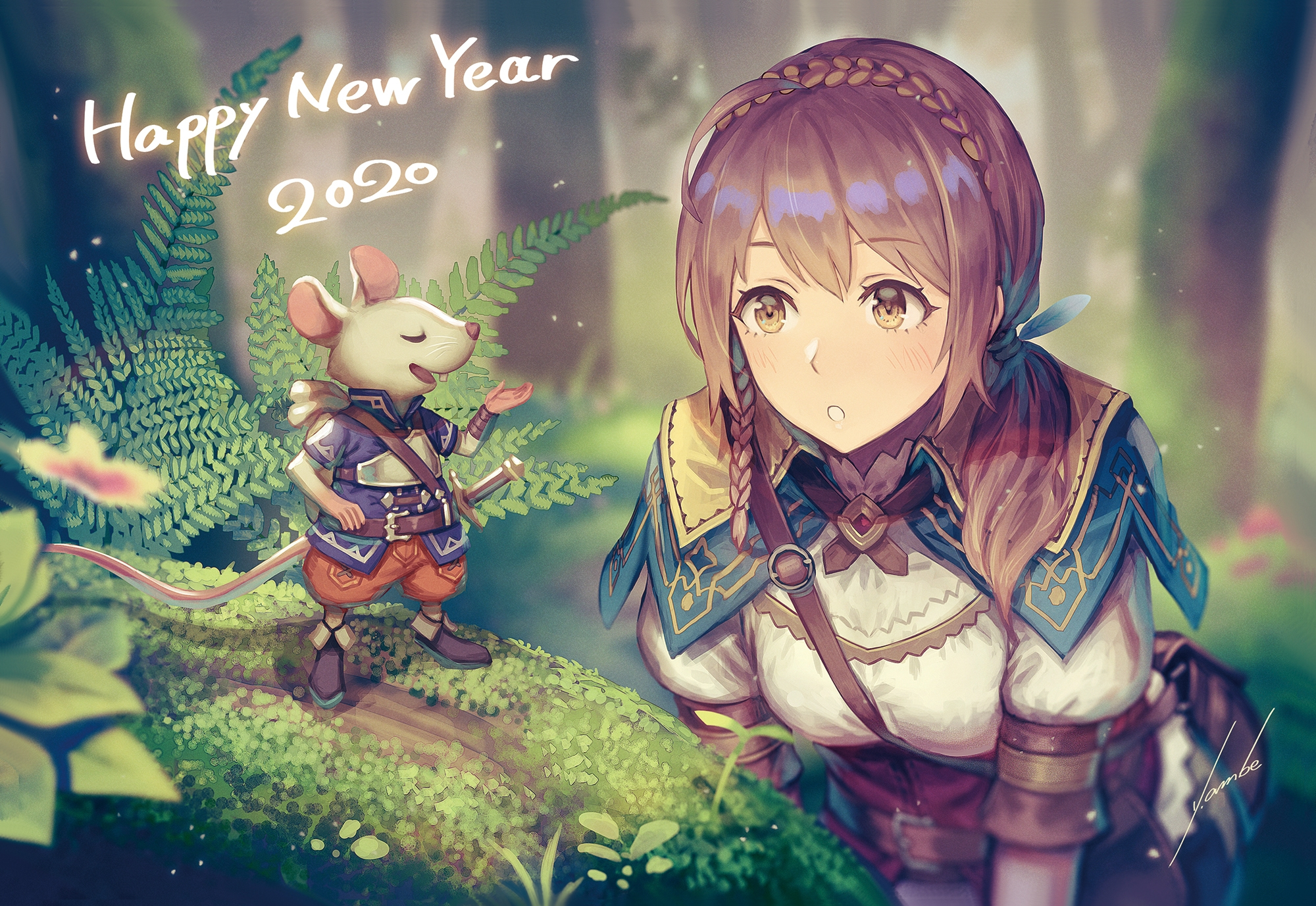 Download 2000x1377 Anime Girl Adventurer Forest Light Armor 2000x1377