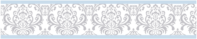 Avery Blue and Gray Damask Wallpaper Border 15 feet x 6 inches 630x125