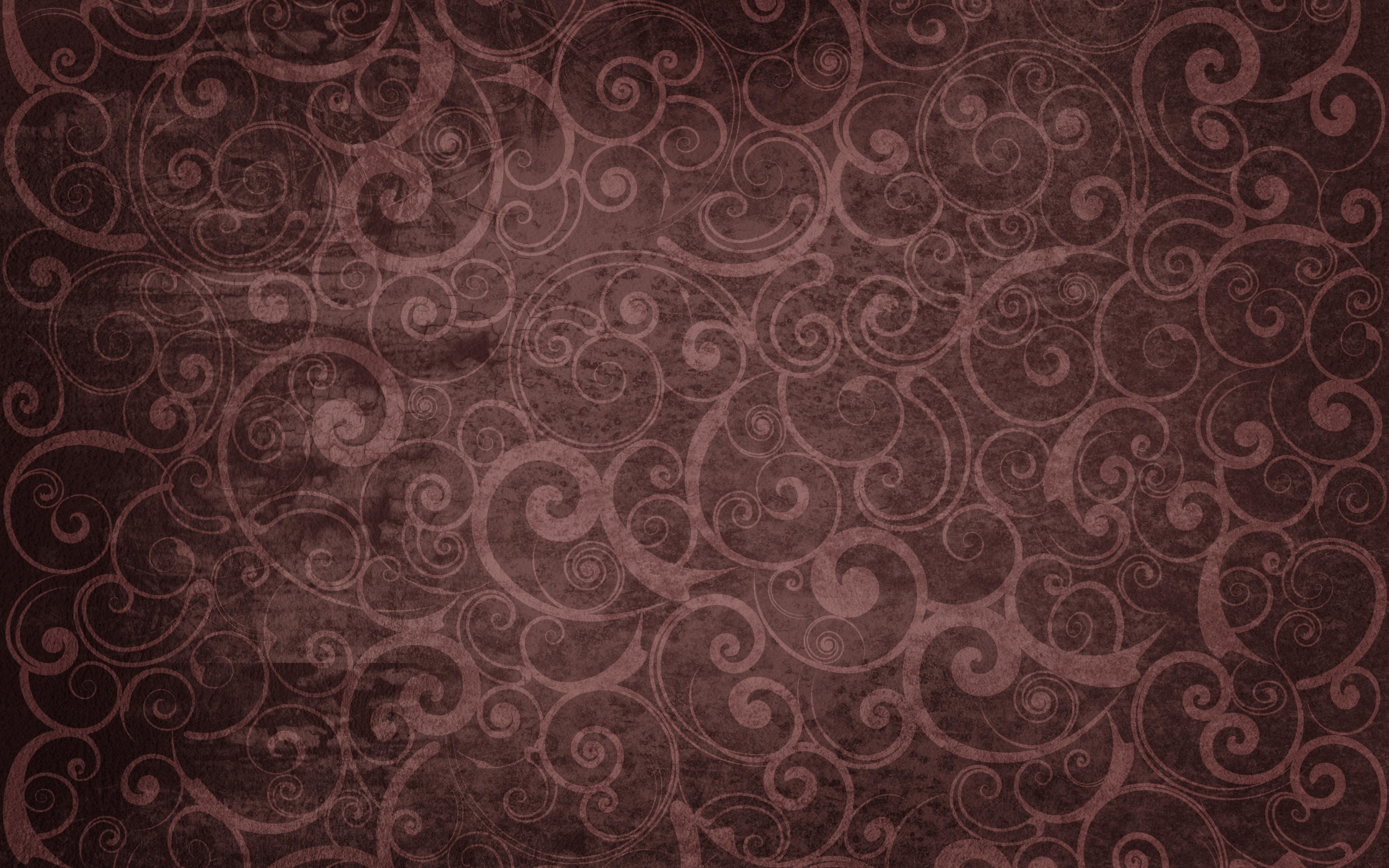 Curls Old Spiral Pattern Dark Wallpaper Background Ultra HD 4K 3840x2400