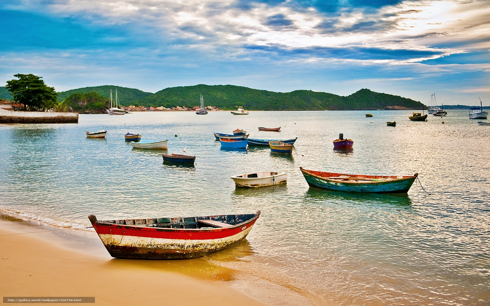 Download wallpaper buzios brazil beach boats desktop 1600x1000