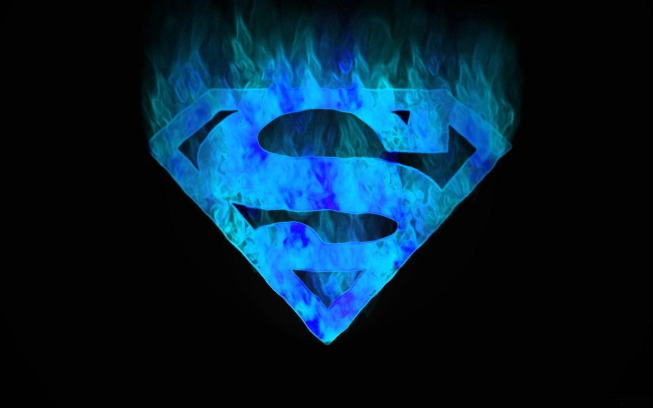 Download Superman Logo wallpaper s blue flame 1280x800