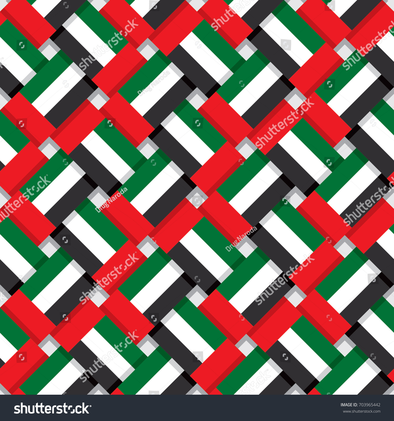 Repeating United Arab Emirates Flag Traditional Stock Vector 1500x1600