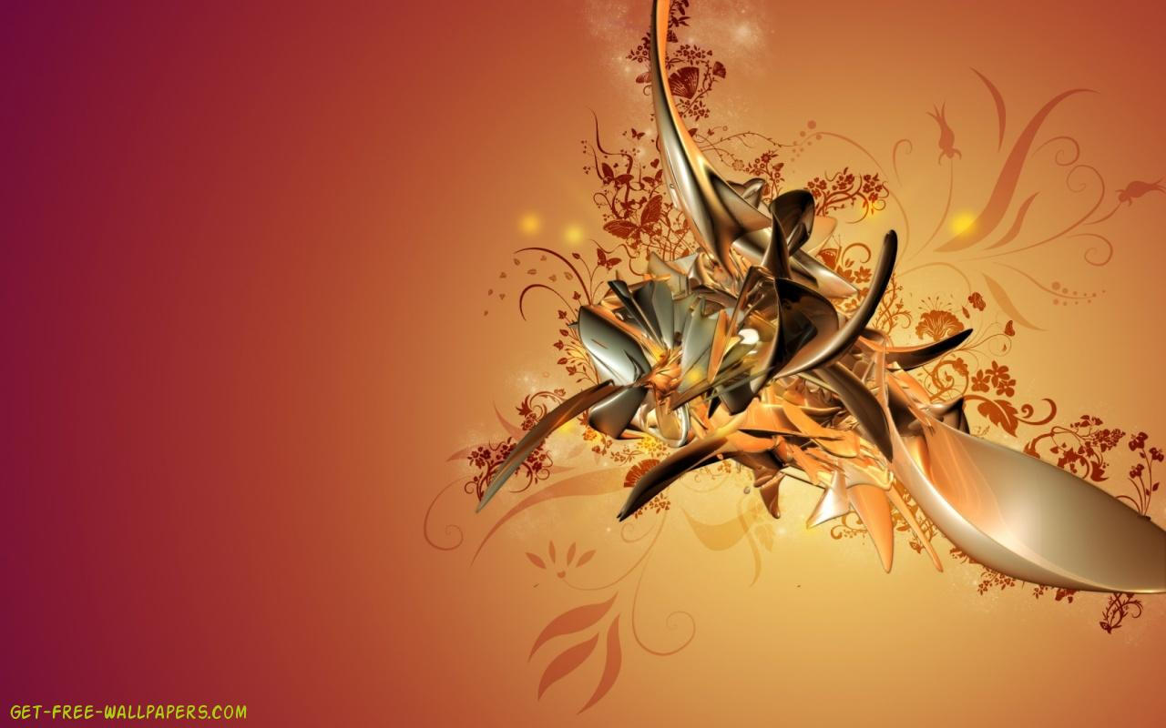 Download Golden Abstract Art Wallpaper 1280x800