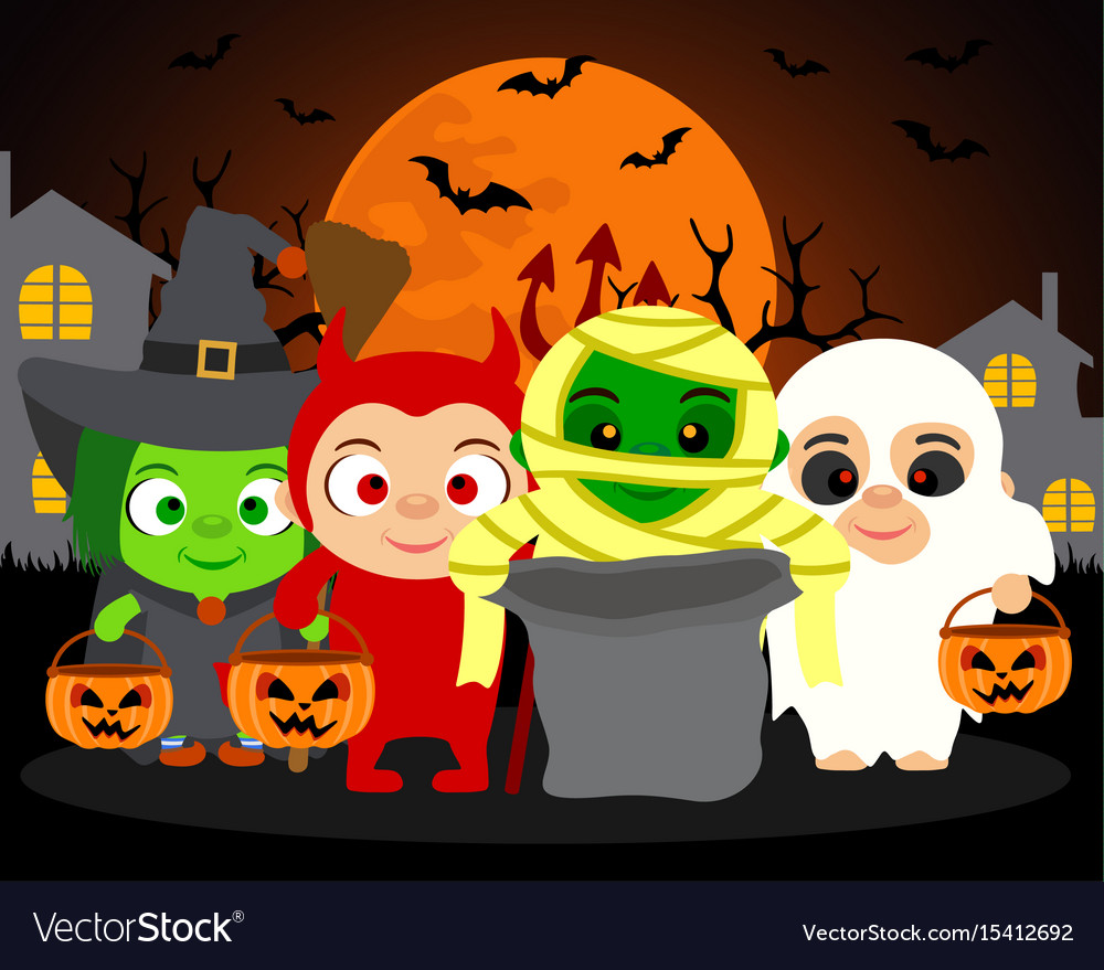 Trick or treat halloween background with kids Vector Image 1000x879