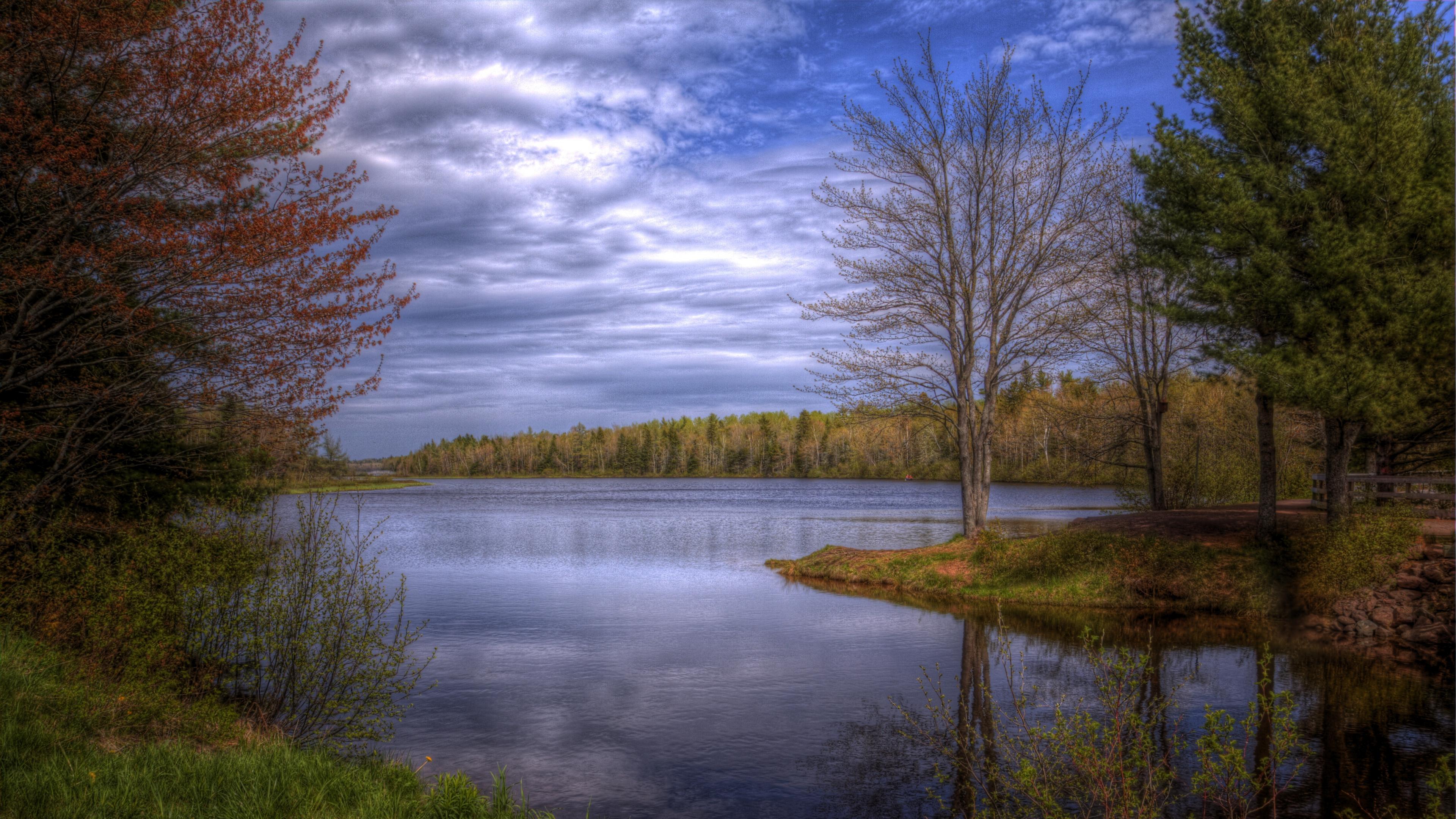Wallpaper 38402160 lake trees sky landscape hdr 4K Ultra HD HD 3840x2160