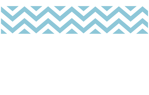 Turquoise Blue White Chevron Zig Zag Wall Border 500x317