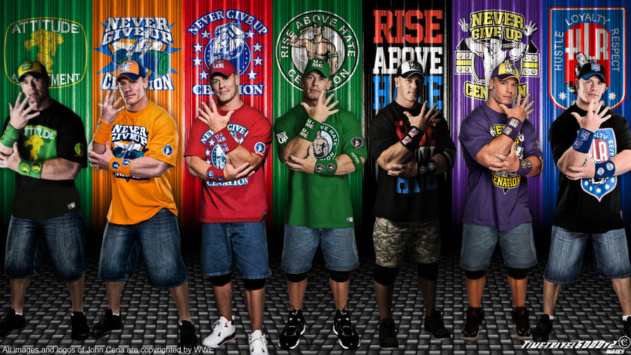 WWE John Cena Multi Color Wallpaper Widescreen by Timetravel6000v2 on 900x507