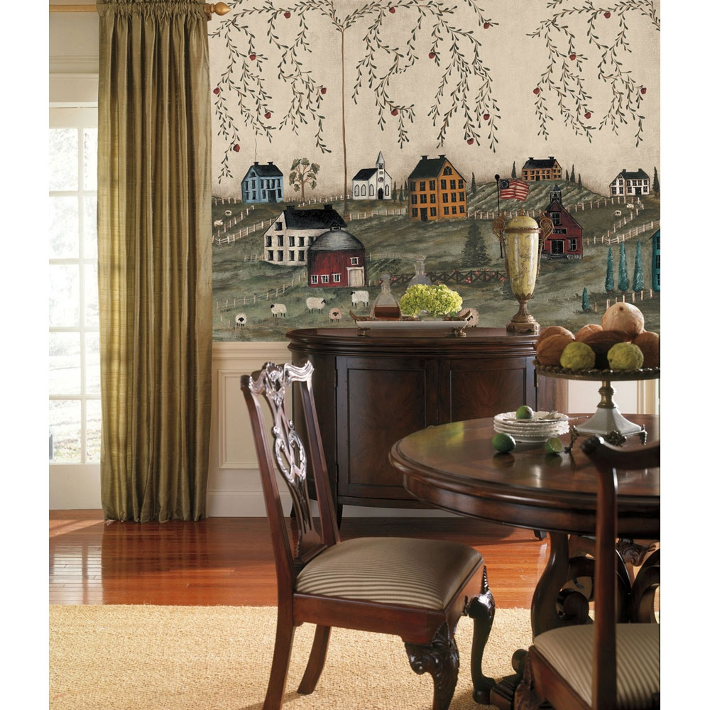 Country Wall Mural   Primitive Wallpaper Accent Decor 1000x1000