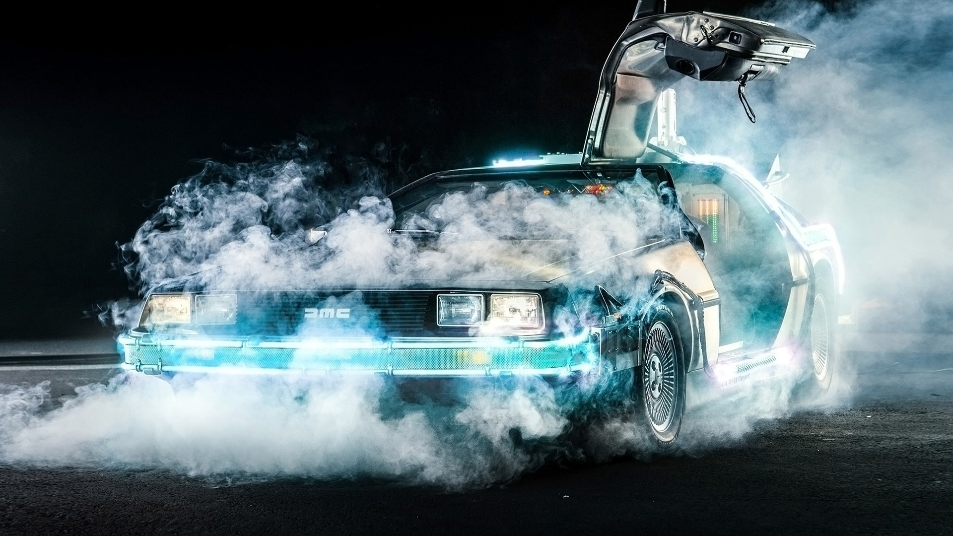 Back To The Future DeLorean Time Travel Car Movies Smoke 1920x1080