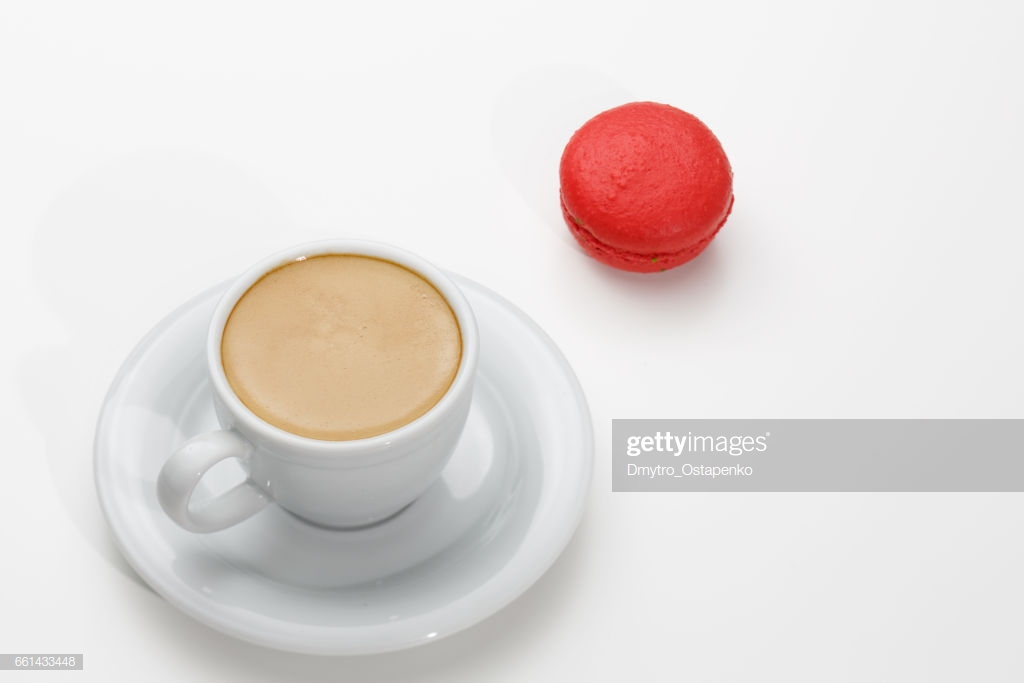 Macarons And A Cup Of Expresso On White Background Conceptual 1024x683
