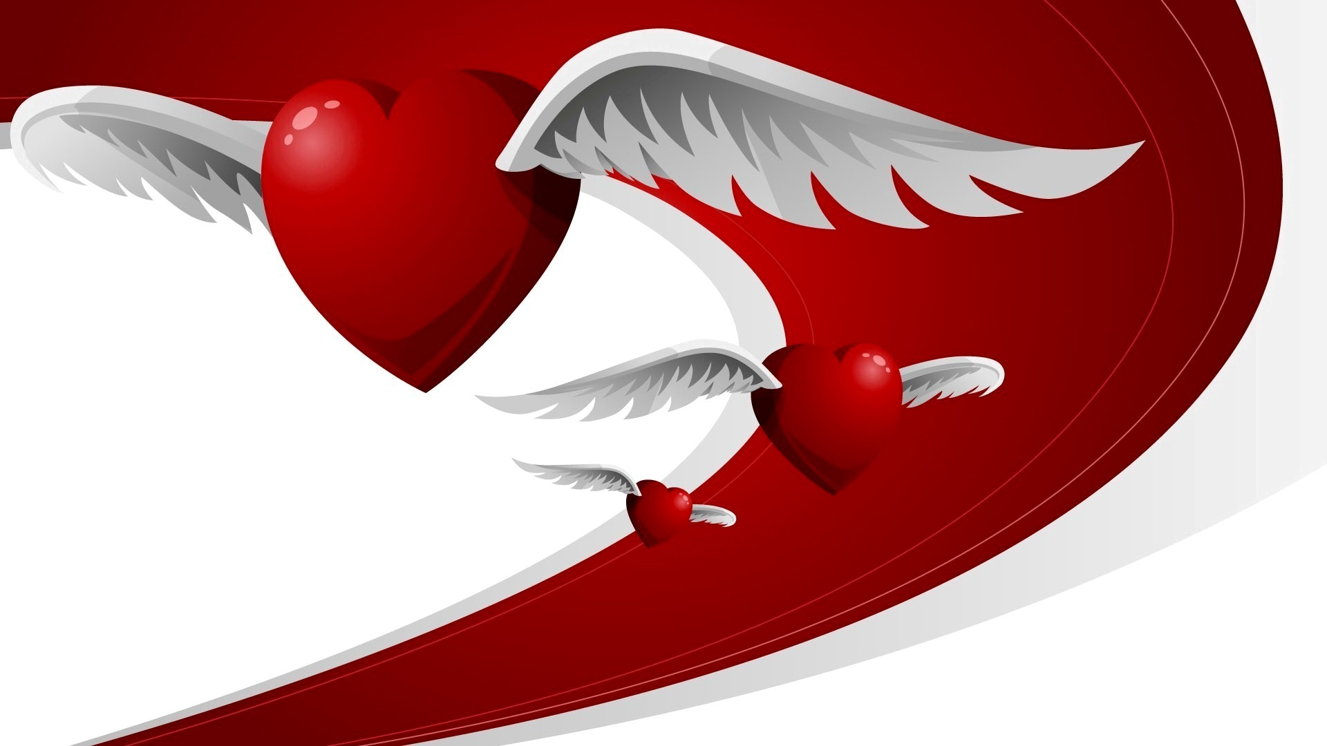 Red Heart With White Wings HD Wallpapers 1920x1080