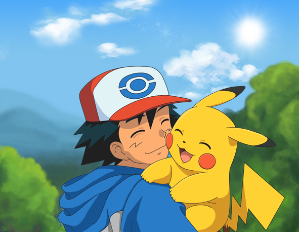 pikachu and ash by zyari d5wo2umjpg 591x458