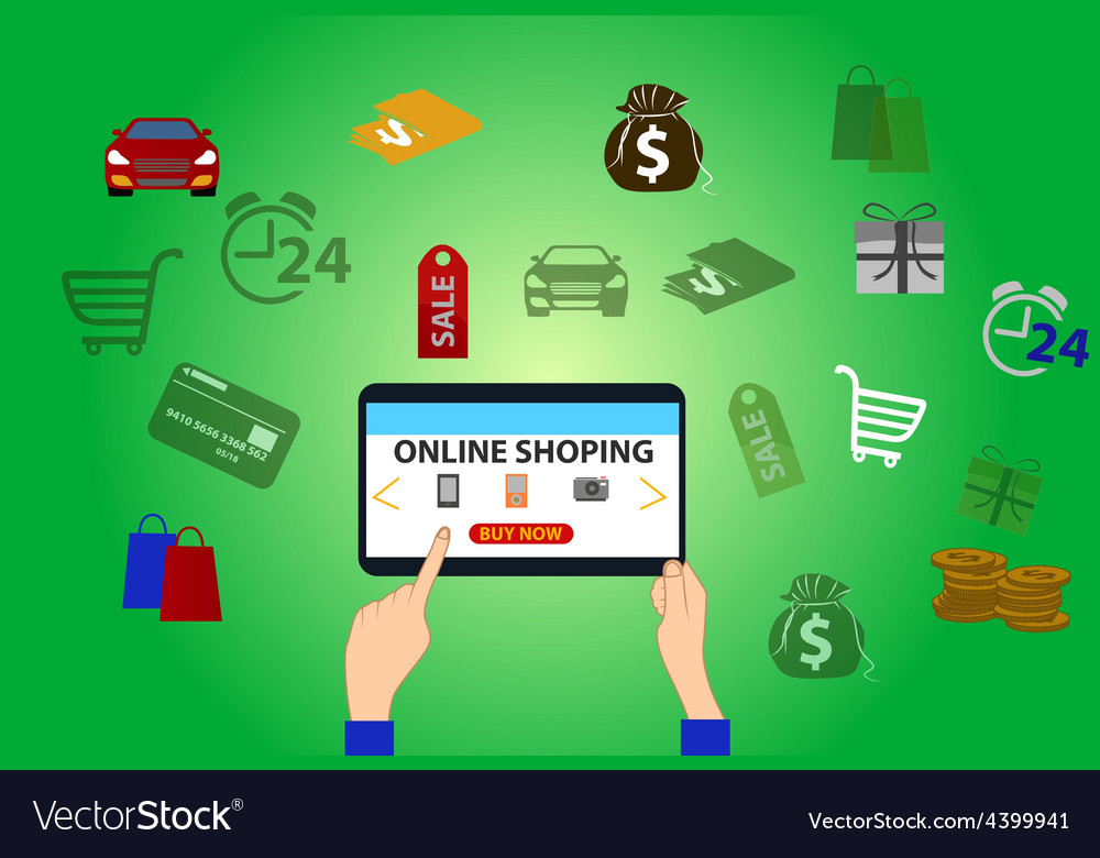Online shopping background Royalty Vector Image 1000x780