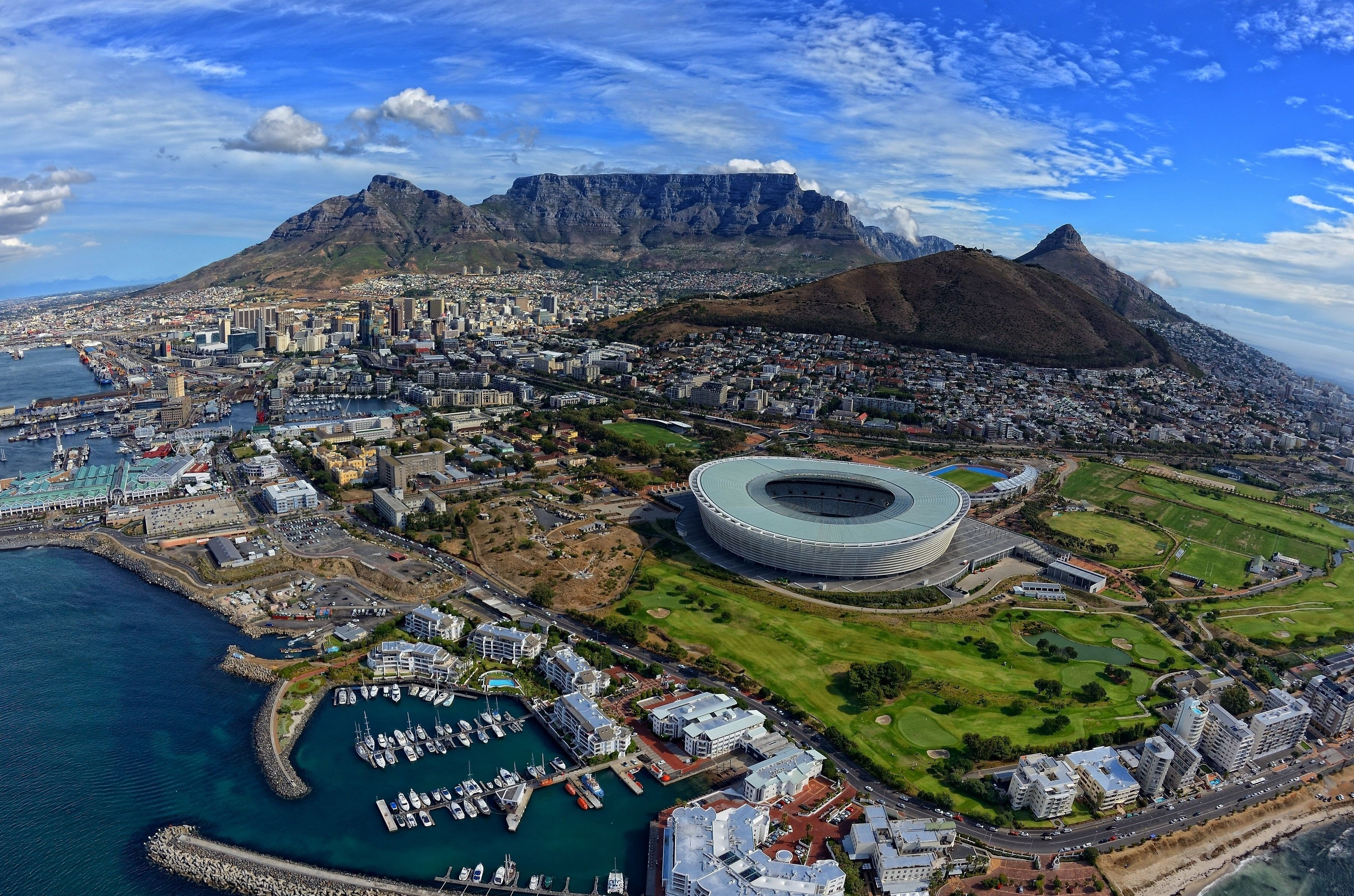 Man Made   Cape Town Table Mountain Stadium South Africa Wallpaper 3600x2384
