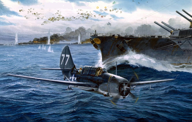 Wallpaper Battle The battle Ships Art Bomber Deck American 1332x850