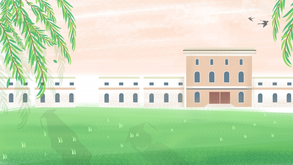 Background Design Of Painted Campus Grassland Teaching Building 960x540