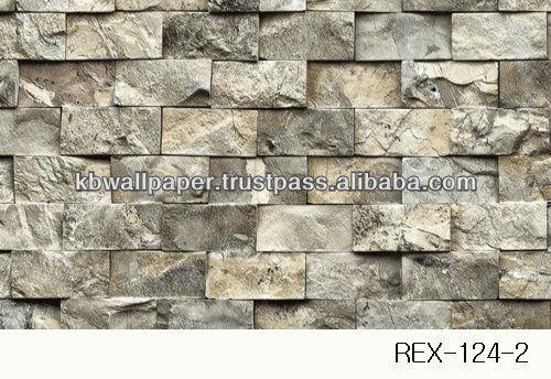 124 2 Stone brick rock 3D design pvc vinyl wall paper wall covering 500x344
