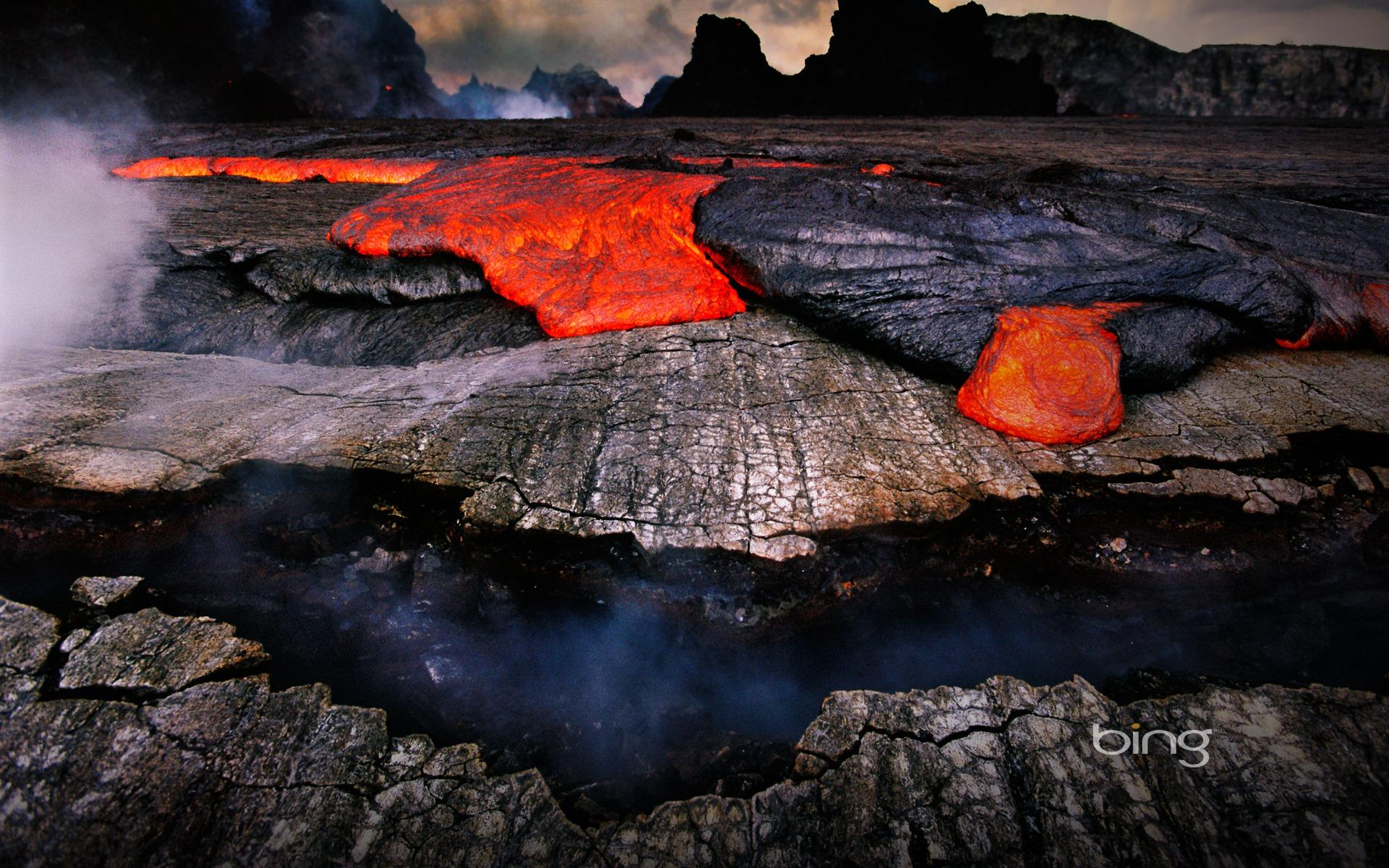 Windows 7 Bing Themes volcanoes lava widescreen HD wallpaper 1920x1200