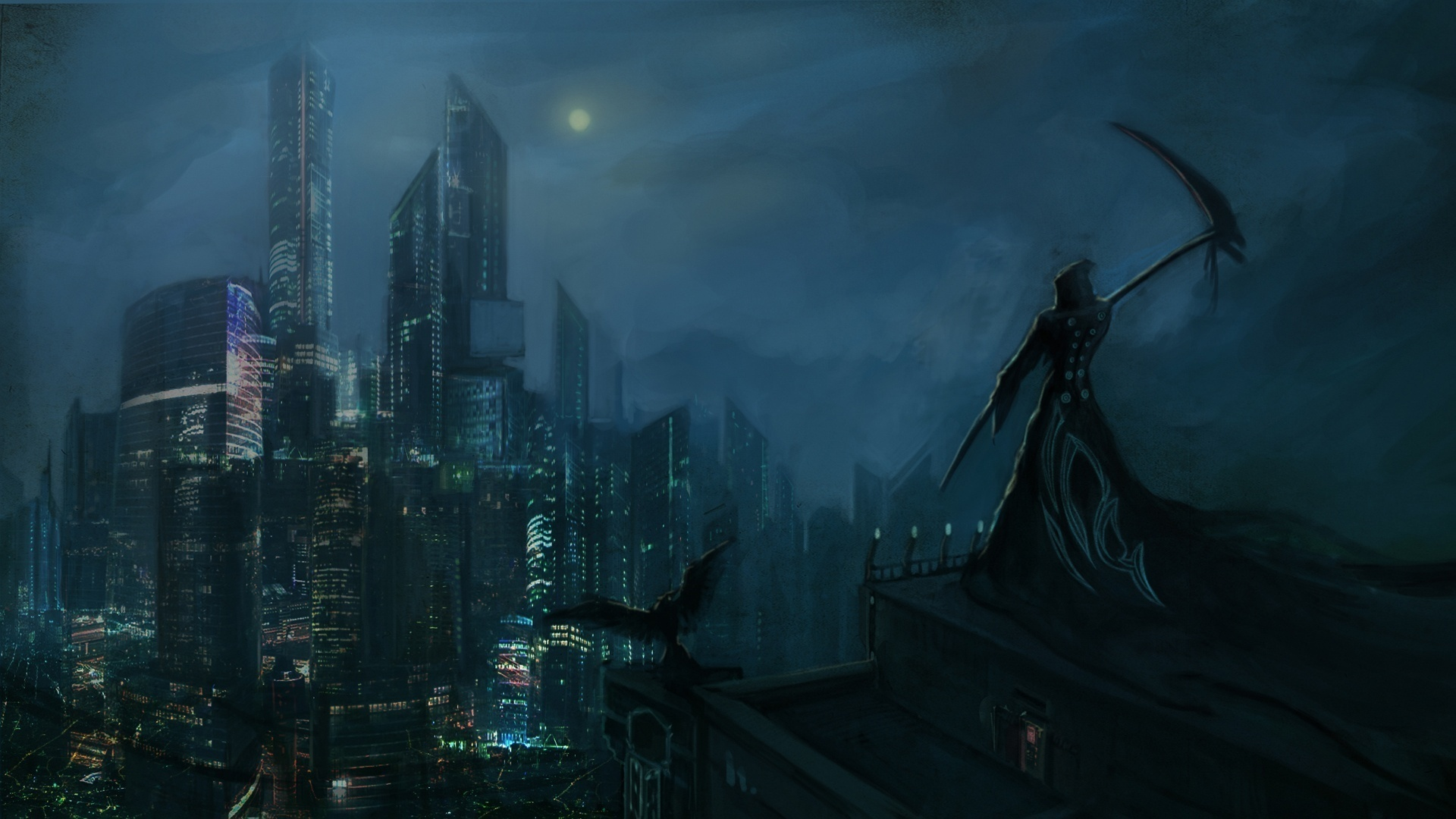 Dark Grim Reaper horror skeletons skull creepy cities night wallpaper 1920x1080